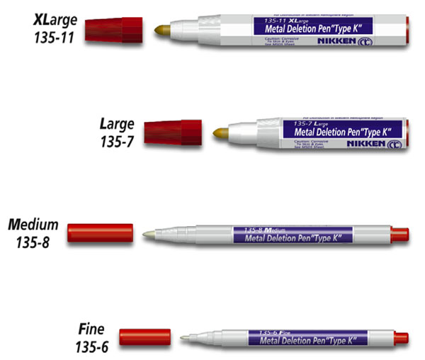 "Nikken Metal ""Type K"" Deletion Pens"
